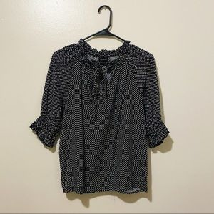 Who What Wear Polka Dot Quarter Sleeve Bow Top